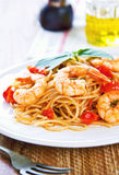 Spaghetti with prawn and tomato Royalty Free Stock Images