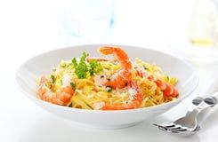 Spaghetti with prawns Stock Image