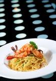 Spaghetti with prawns Stock Photo