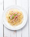 Spaghetti with prawns Stock Photos