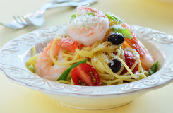 Spaghetti with prawns Stock Photo