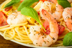 Spaghetti with prawns Royalty Free Stock Image