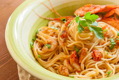 Spaghetti with prawns Stock Images
