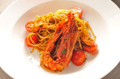 Spaghetti Prawns Stock Image