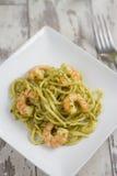 Spaghetti with Prawns and Pesto Stock Photos