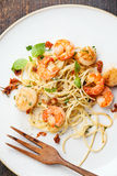 Spaghetti with prawns Royalty Free Stock Photography