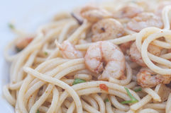 Spaghetti with prawns series 03 Royalty Free Stock Images