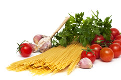 Spaghetti preparation Stock Photos