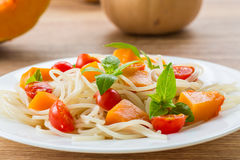 Spaghetti with pumpkin Stock Photos