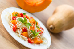 Spaghetti with pumpkin Stock Image