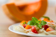 Spaghetti with pumpkin Royalty Free Stock Photography