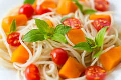 Spaghetti with pumpkin Stock Photography