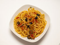 Spaghetti puttanesca. Is one of the classic Italian dishes stock photo