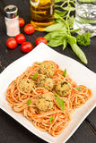 Spaghetti with quinoa and mushrooms balls Royalty Free Stock Images