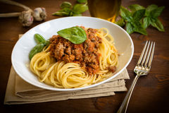 Spaghetti with ragout Royalty Free Stock Image