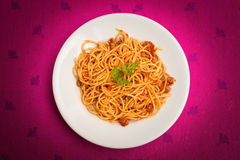 Spaghetti with ragout. Dish of italian pasta topped with ragout sauce Royalty Free Stock Image