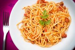 Spaghetti with ragout Stock Photos