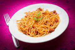 Spaghetti with ragout Stock Images