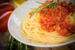 Spaghetti with ragout Royalty Free Stock Images