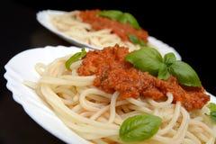 Spaghetti ragu alla bolognese sauce on black,close up Stock Image