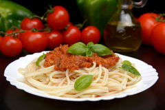 Spaghetti ragu alla bolognese sauce on black,close up Royalty Free Stock Image