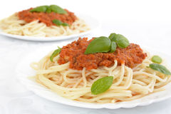 Spaghetti ragu alla bolognese sauce on white,close up Royalty Free Stock Photography