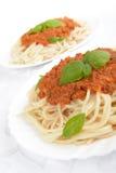 Spaghetti ragu alla bolognese sauce on white,close up Royalty Free Stock Photos