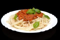 Spaghetti ragu bolognese sauce on black,close up Royalty Free Stock Image