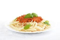 Spaghetti ragu bolognese sauce on white,close up Stock Image