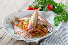 Spaghetti With Red Mullet Stock Photos