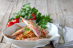 Spaghetti With Red Mullet Sauce Stock Photos