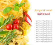 Spaghetti with red pepper, a basil and a tomato Royalty Free Stock Images