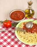 Spaghetti with red tomato sauce royalty free stock photo