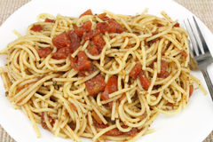 Spaghetti with Red Tomatoes Stock Images