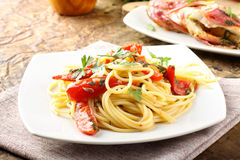 Spaghetti with redfish Royalty Free Stock Photos