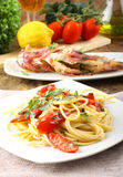 Spaghetti with redfish. On complexbackground Stock Photo