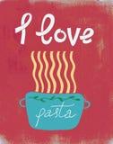 Spaghetti retro affiche, houd ik van deegwaren Stock Foto's