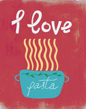 Spaghetti retro poster, i love pasta stock illustration