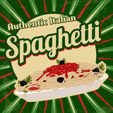 Spaghetti retro poster. Italian pasta. Spaghetti with sauce poster in vintage style, vector illustration Royalty Free Stock Photo