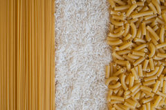 Spaghetti,rice and macaroni textures Stock Images