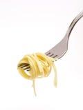 Spaghetti rond vork royalty-vrije stock foto
