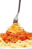 Spaghetti roulés sur une fourchette photographie stock