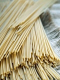 Spaghetti on sackcloth Royalty Free Stock Images