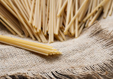 Spaghetti on sackcloth Royalty Free Stock Photography