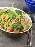 Spaghetti and Salmon Stock Photo