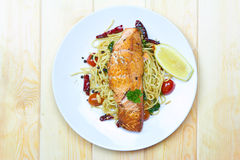 Spaghetti salmon Stock Photography