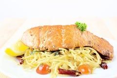 Spaghetti salmon Royalty Free Stock Image