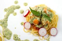 Spaghetti salmon Royalty Free Stock Images