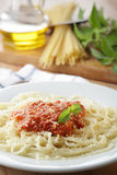 Spaghetti with salsa Royalty Free Stock Images
