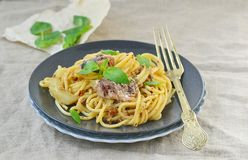 Spaghetti with sardine sauce Royalty Free Stock Photos